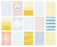 Texturas quadradas coloridas tiradas mão do vetor com linhas, pontos e imagem de stock royalty free
