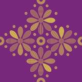 Texturas sem emenda com as flores amarelas decorativas no fundo violeta Fotos de Stock