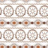 Texturas tribales étnicas del mexicano del marrón inconsútil decorativo del vector del modelo del café en color del caramelo ilustración del vector
