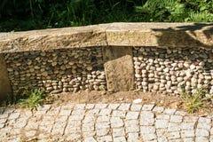 texturbakgrund av den kullersten stenlade gatan Royaltyfri Foto