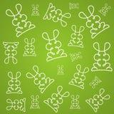 Texturbakgrund i linjär design med kaniner Royaltyfri Bild
