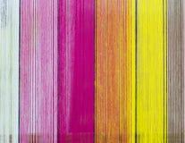 Texturbakgrund med färgrika textiler Fotografering för Bildbyråer