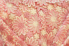 Texturd background of Pink floral textile Royalty Free Stock Images