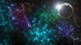 Texture étoilée de fond d'espace extra-atmosphérique Le soleil est derrière la planète morte Photo stock