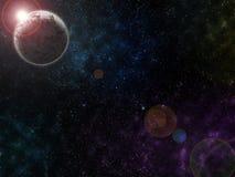 Texture étoilée de fond d'espace extra-atmosphérique Le soleil est derrière la planète morte Photographie stock libre de droits