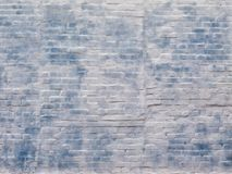 Texture, abstract background, white and blue building brick wall. Royalty Free Stock Photo