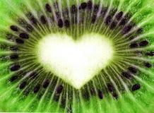 Texture abstraite de kiwi avec la forme de coeur Image stock