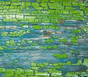 Texture aging crackinged green paint. Texture formation green paint on wooden board Royalty Free Stock Photography