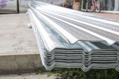 Texture of aluminium foil for roof background Stock Photos