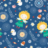 The texture of the angels. Seamless pattern from gay angels on a blue decorative background vector illustration