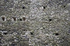 Texture antique de rempart de mur en pierre de château Photos libres de droits