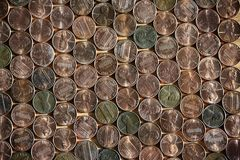 Texture of arranged in a number of American pennies Stock Photos