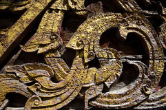 Texture art craft thai style on the temple wall Stock Photography
