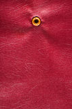 Texture of artificial leather with a red door peephole. Photo jpg Stock Photos
