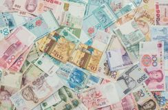 Texture of Asia money.Currency of Kazakhstan, Hong Kong, Indonesia, Malaysia, China, Thai and Singapore Stock Photo