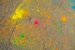 The texture of the asphalt. Dry paint. Multi-colored stains, splashes and traces of paint dry. Royalty Free Stock Photo