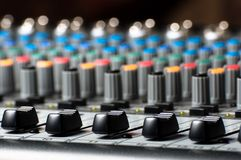 Texture of an audio sound mixer Stock Images