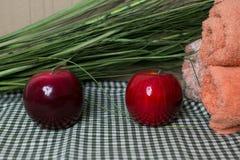 Texture avec les pommes rouges Photo stock