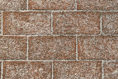 Texture background with bricks covered with frost. Royalty Free Stock Photography