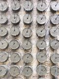 Texture and background of cement lumps for spacing and leveling the concrete structure work royalty free stock images