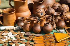 Texture, background. clay pots. On the medallions painted runic Royalty Free Stock Photo