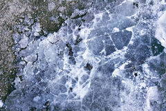 Texture background with cracked blue ice. Royalty Free Stock Photos