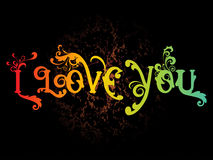 Texture background with floral i love you Stock Photos