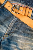 Texture background of jeans , Pocket and belt detail Stock Photos
