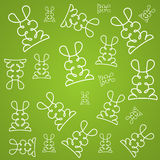 Texture background in linear design with rabbits. Texture background in linear design with white abstract rabbits. Vector illustration Royalty Free Stock Image