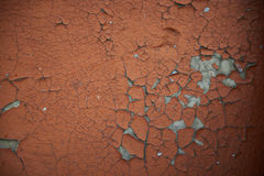 Texture. Background. Old wall, cracked brown paint. Gray cracks. Royalty Free Stock Photo