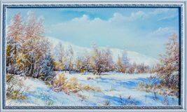 Texture, background. Painting on canvas painted with oil paints. The painting is painted the first snow falling on the trees in the forest Stock Photo