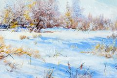 Texture, background. Painting on canvas painted with oil paints. The painting is painted the first snow falling on the trees in the forest Stock Image