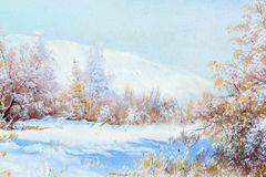 Texture, background. Painting on canvas painted with oil paints. The painting is painted the first snow falling on the trees in the forest Stock Photos