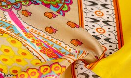Texture, background, paisley silk fabric, Indian themes ornate traditional paisley elements with ethnic details in a bohemian