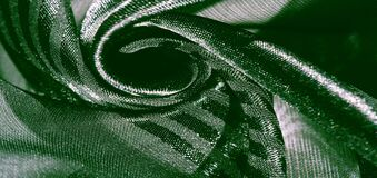 Texture, background, pattern, collection, light transparent silk fabric with stripes of different size, green. exquisite luxury