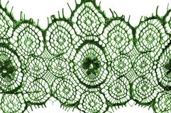 Texture, background, pattern. lace fabric. green. Stunning embroidered flowers bloom on the border along both edges, while. Sporadically grows through the stock image