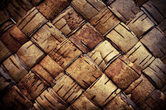 Texture background plaited bast. Closeup Royalty Free Stock Images
