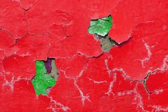 Texture background of red and green peeling paint on the old rough texture surface Stock Images