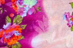 Texture, background. textiles. cotton cloth. linen, bright rose. Flowers, drawing on fabric stock images