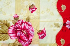 Texture, background. textiles. cotton cloth. linen, bright rose. Flowers, drawing on fabric stock image