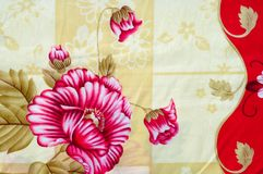 Texture, background. textiles. cotton cloth. linen, bright rose. Flowers, drawing on fabric royalty free stock photography