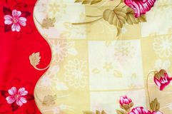 Texture, background. textiles. cotton cloth. linen, bright rose. Flowers, drawing on fabric royalty free stock photo