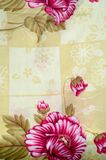 Texture, background. textiles. cotton cloth. linen, bright rose. Flowers, drawing on fabric stock photography