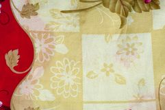 Texture, background. textiles. cotton cloth. linen, bright rose. Flowers, drawing on fabric royalty free stock image
