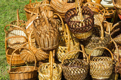 Texture, background. Wicker items from willow twigs. Baskets, ch Stock Photography