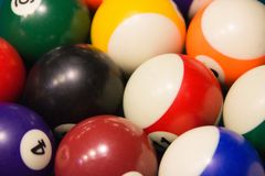 The texture of the balls for the billiards stock photography