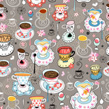 Texture of the beautiful cups. Seamless pattern of beautiful colorful graphics with cups of tea on a pale background Stock Photo