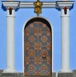 Texture of beautiful high decorative metal door to church in Kiev, Ukrain Royalty Free Stock Image