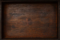 The texture is beautiful naturally aged wood. Vintage background. Wooden empty box, top view Royalty Free Stock Photography