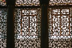 Texture silhouette patterned screens in the mosque. Istanbul, Turkey royalty free stock image